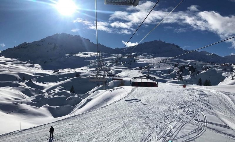 Quiet, sunny slopes in La Plagne
