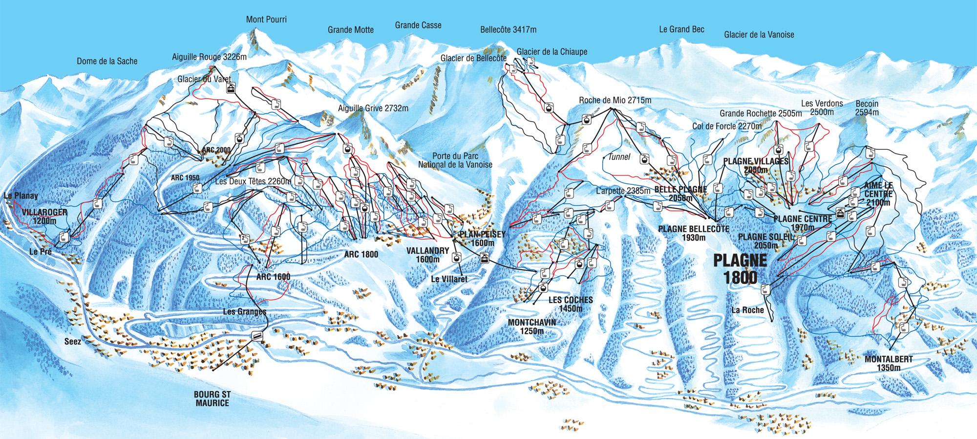 La Plagne Piste Map La Plagne Ski Holidays for Families | Ski Famille La Plagne Piste Map