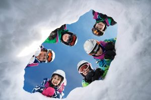 children at ski resort