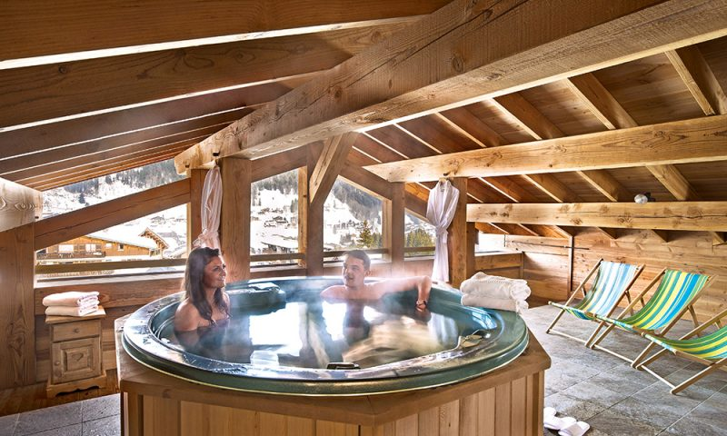 chalet roof hot tub