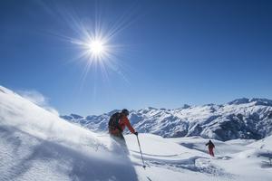skiing and sun